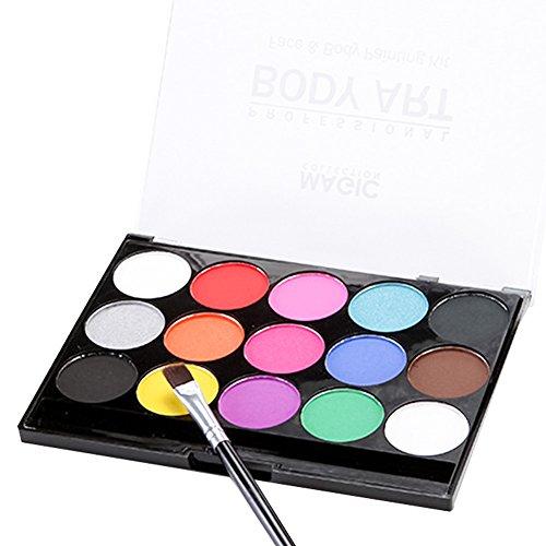 Face Painting Kit, professionelle 15 Farbe Mega Palette und Pinsel, Nicht giftig waschbar Körper Gesicht Make-up-Farbe Zubehör für Kinder Erwachsene Cosplay Vibrierende Farben