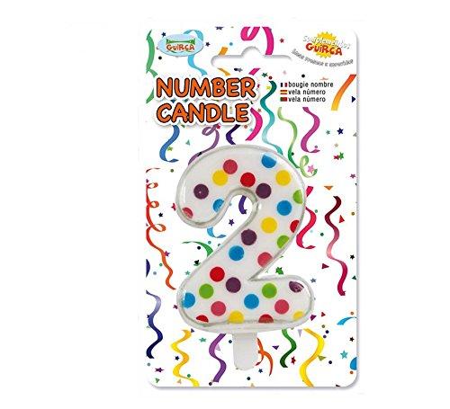 """Guirca Vela número 2\"""" De Lunares Ideal para decoración Tarta-6.5cm"""