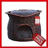 Handmade Two tiers wicker basket for cats or small dog,Pet House, Cushions may varies as random selected!!! 2458 (Reddish Brown)