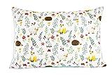 Kissenbezug 40 x 60 cm mit Reißverschluss, Kissen Bezug aus 100% Baumwolle, hergestellt in Europa (Igel)