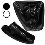 Aerzetix - Satz Schaltsack + Handbremssack Schwarze Farbe 100% Echtes Leder (Weiße Nähten)