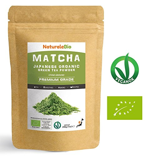 Japanese Organic Matcha Green Tea Powder [ Premium Grade ] 200g | Tea Produced in Japan, Uji, Kyoto | Use for Drinking, Cooking, Baking, Smoothie Making and with Milk | Vegan & Vegetarian Friendly