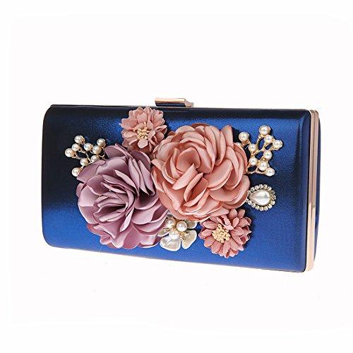 KAXIDY Pochette da Cerimonia Borse a Tracolla Borse Eleganti Pochette da Giorno Blu