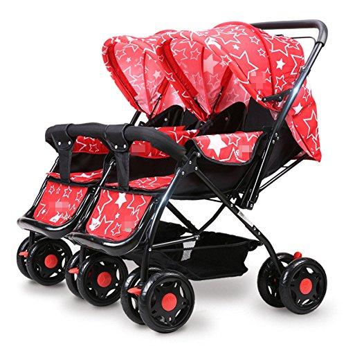 QXMEI Zwillinge Baby Trolley Licht Schock Baby Kann Sich Falten Kinder Kinder Zwei-Wege-Doppel-Kinderwagen,Red-OneSize