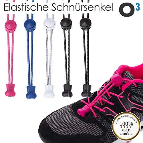 O³ Schnürsenkel Schnellschnürsystem // 5 Paar // Shoe Laces für Kinder und Erwachsene - anpassbare Länge // Elastische Schuhbänder mit Schnellverschluss schwarz weiß blau pink