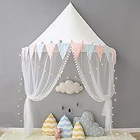 Here&There Ciels De Lit avec Moustiquaire Rideaux De Lit Fille Princesse Tente de Lit Décoration 100% Coton Pour Bébé Enfant Chambre