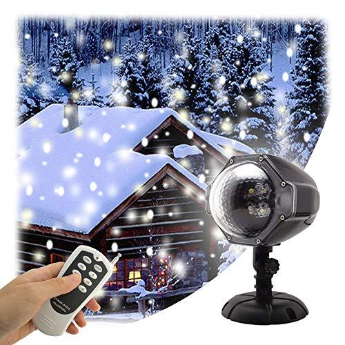 GAXmi LED Schneefall Licht Fernbedienung Scheinwerfer Weihnachtsbeleuchtung Aussen Projektor Weiße Schneeflocke Strahler Schnee Weihnachtsdeko Beleuchtung