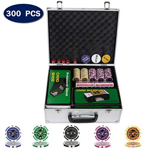 D4P Display4top Pokerkoffer Laser Pokerchips Poker 12 Gramm , Automatischer Kartenmischer, Handelsschuh, Händler, Small Blind, Big Blind Tasten und 5 Würfel, mit Aluminium-Gehäuse (300 Chips)
