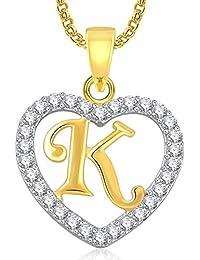 Stunning Gold Plated Alphabet 'K' Letter Heart Pendant Locket With Chain For Men And Women/Boys & Girls