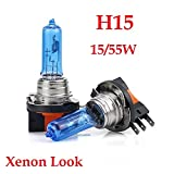 - XENON WEISSE OPTIK - ca. 6000K Halogen Auto Lampen 12V für Abblendlicht, Fernlicht, Zusatzscheinwerfer und Nebelscheinwerfer nach Wahl. INION® (2x H15 15/55W)
