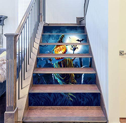 RENZHAO Treppenaufkleber 13 Stück Halloween Stereo 3D Simulation Entfernbare wasserdichte Wandaufkleber Schlafzimmer Wohnzimmer DIY Tapete 18 * 100cm