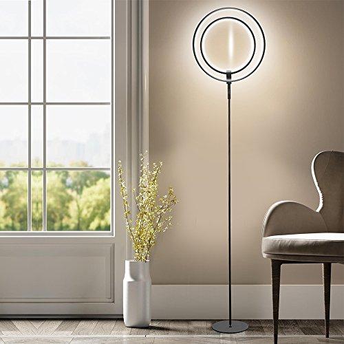 LED Stehleuchte - WAYKING Stehlampe mit Doppelringen Licht, helles und futuristisches Ambiente- stilvolle und dimmbare Halo Leuchtmittel mit warmweiß Licht für Büro, Wohnzimmer, Schlafzimmer, Arbeitszimmer, - Schwarz… (Helle Halo-lichter)