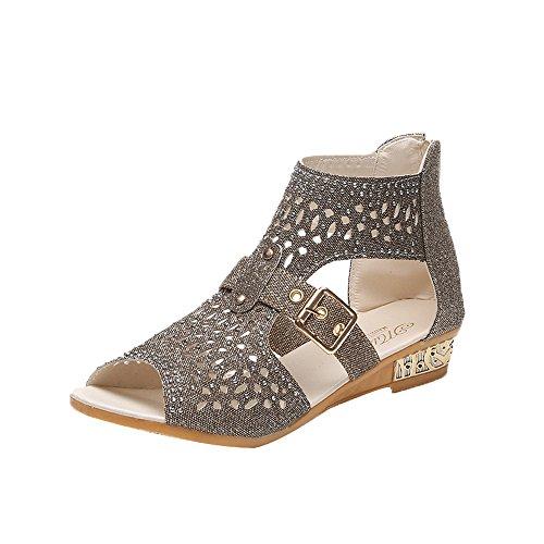 Sandalen, FEITONG Frauen Sandalen Fisch Mund Schuhe Pumps Hollow Schuhe Flip Flops Flach Schuhe (40, Gold) (Gold Fisch Schuhe)