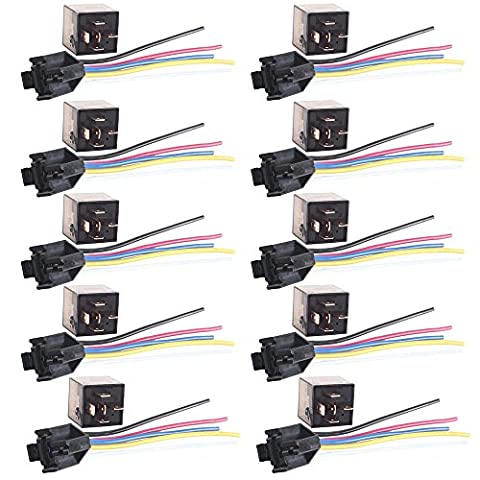 Mintice™ 10 X 80A 12V kit voiture relais 5 broches pour la pompe à carburant de ventilateur électrique robuste prise de courant fil