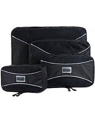 PRO Packing Cubes | Juego económico de 4 organizadores de viaje | Bolsos ahorradores del 30 % de espacio | Organizadores ultraligeros de equipaje | Ideales para bolsos de viaje, maletas y mochilas