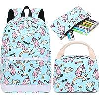 School Backpack for Girls Kids Bookbag Set with Lunch Box School Bags Travel Daypack (E0030-light blue)