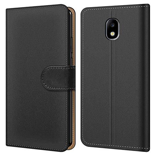 Conie BW31567 Basic Wallet Kompatibel mit Samsung Galaxy J7 2017, Booklet PU Leder Hülle Tasche mit Kartenfächer und Aufstellfunktion für Galaxy J7 2017 Case Schwarz