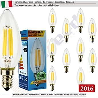 SunSeed, Garantie de deux ans, 10 X E14 4W Ampoule Flamme à Filament LED en Saphir C35 AC22-240V Blanc Chaud 2700K 400 Lumens 300° Alimentation IC Sans Scintillement Led Vintage Led Classic Led Edison Led
