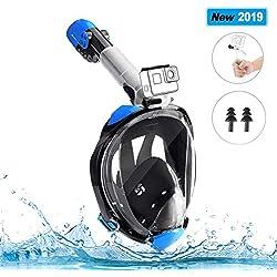 ZENEZ Masque de Plongée, Plein Visage 180° Visible, Antibuée Anti-Fuite, Masque Snorkeling avec la Support pour Caméra de Sport pour Adulte