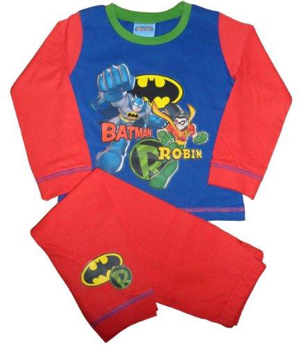 Jungen Kinder Batman und Robin DC Super Friends lang Schlafanzug, Langer Pyjama, Rot