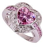 Yazilind Frauen 2015-Silber überzogene Topaz Rhinestone-Rosa-Herz-Hochzeits-Ring Size7