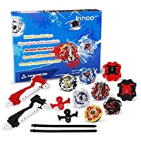 Innoo Tech Beyblade Burst, 6 Pieces Bey Battle Blade Burst Gyro Top Set, 4D Fusion Model Metal Masters Acceleration Launcher, Speed Spinning Top, Great Kids Toy