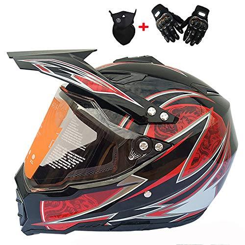 WLJBY Motocross Helm Full Face Motorradhelm D.O.T Approved Geschenk Transparente Linse Handschuhe und Brille für ATV/MX/DH/MTB/UTV/Enduro Endurance Race (Bright Black Dragon),S