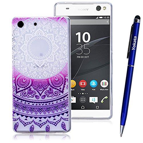 Für Sony Xperia M5, Yokata Crystal Hülle Gradient Case Soft Weich TPU Silikon Gel Backcover mit Mandala Design Schutzhülle Cover Klar Transparent Skin Schutz Schale Protective Cover - Lila