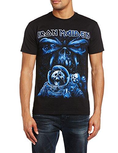 Iron Maiden Final Frontier Blue Album Spaceman - Camiseta manga corta para hombre, color negro, talla L