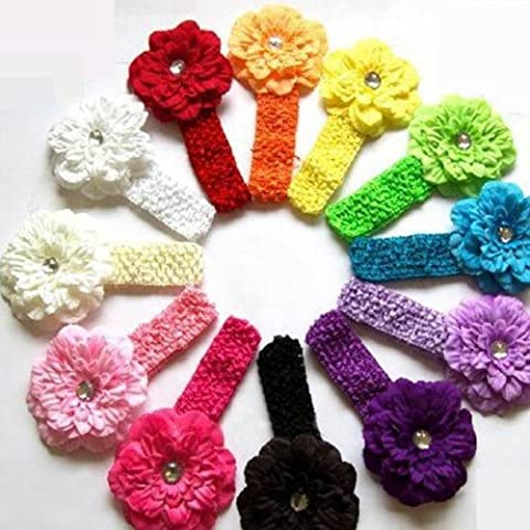 Peony Flower Hair Clips with Crochet Headbands for Baby Toddler Youth Girls