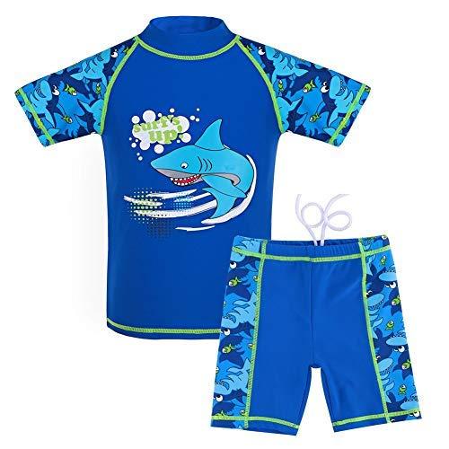 G-Kids Kinder Jungen Badeanzug Bademode Zweiteiliger UPF 50+ UV Schützend Schwimmanzug, Blau, 140/146