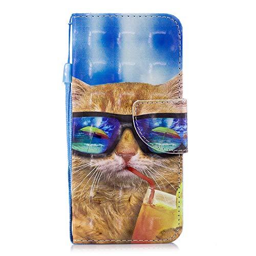 ShinyCase Samsung Galaxy S8/G950 Flip Brieftasche PU Ledertasche Handyhülle Wallet Case 3D Bling Glitzer Tasche im Brieftasche-Stil Katze mit Brille Muster Cover Schütz Hülle Abdeckung Ledertasche