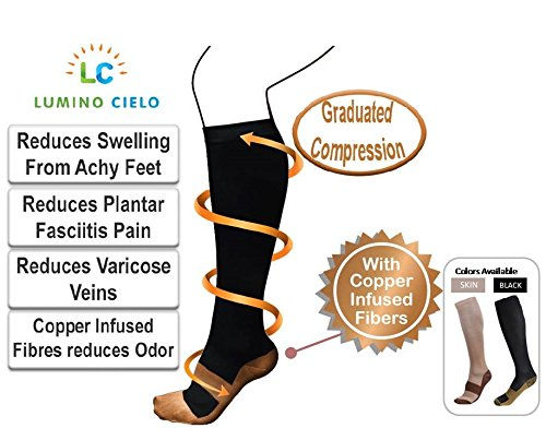 Lumino Cielo Compression Socks with Copper Infused Fibers for Varicose Veins Symptom, Fascitis Pain Relief - S/M, Black