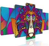 GTomorrow Stampe su Tela Arte Testa Divertente della Gorilla di Colore Divertente Animale Astratto caffè Ristorante Soggiorno Bar Decorazione 5 Pezzi 100x55Cm