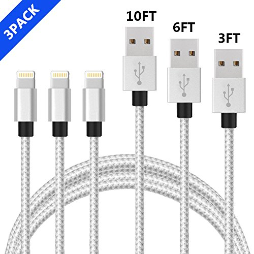 Lightning Cable,Vinpie iphone cable 3ft 6ft 10ft for iPhone X 8 8 Plus, 7s 7 Plus 6s 6 Plus 5s 5c 5, iPad Pro, Air 2, iPad mini , iPod touch 5th gen / 6th gen / nano 7th gen(3 pack)