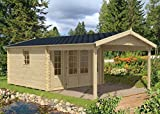 Alpholz Gartenhaus Spessart ISO, 44 mm Wandstärke (380 x 380 cm + 300 cm)