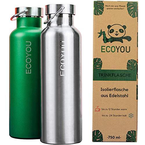 EcoYou® Trinkflasche Edelstahl 750 ml Silber doppelwandig für Heiß- & Kaltgetränke   Wasserflasche Isolierflasche Thermoflasche   Sport & Outdoor Flasche -