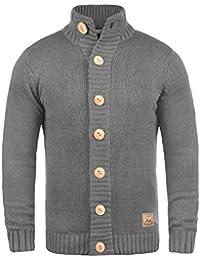 SOLID Pete Herren Strickjacke Cardigan Grobstrick mit Stehkragen aus hochwertiger Baumwollmischung
