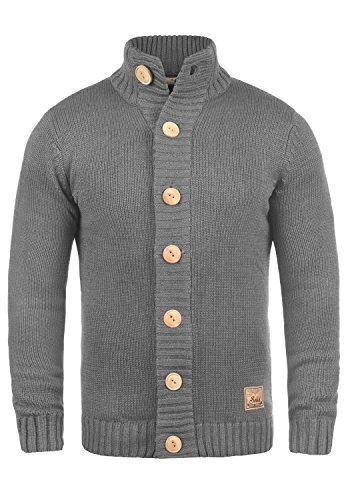 !Solid Pete Herren Strickjacke Cardigan Grobstrick Winter Pullover mit Stehkragen, Größe:XL, Farbe:Grey Melange (8236)