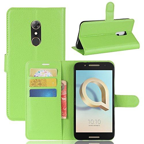 GARITANE Alcatel A7 Hülle Case Brieftasche mit Kartenfächer Handyhülle Schutzhülle Lederhülle Standerfunktion Magnet für Alcatel A7 (Grün)