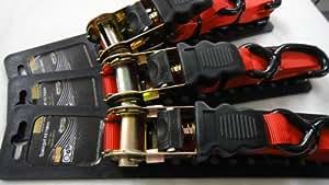 MASTERP Spanngurt mit Ratsche, 2 Metallhaken und zusätzlichen Kunststoffüberzug, rot,