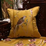 Home Sofa Car Decoration Ornament Hold Throw Pillow Cushion Christmas Thanksgiving Giftmodern Pillow Embroidery Bird Classic Sofa Cushions Bed Back Rest ,50X50Cm,Golden