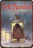 Laptopo 1981 Cuervo Tequila 1800 Vintage Look Replica Metal Sign - Feliz Navidad