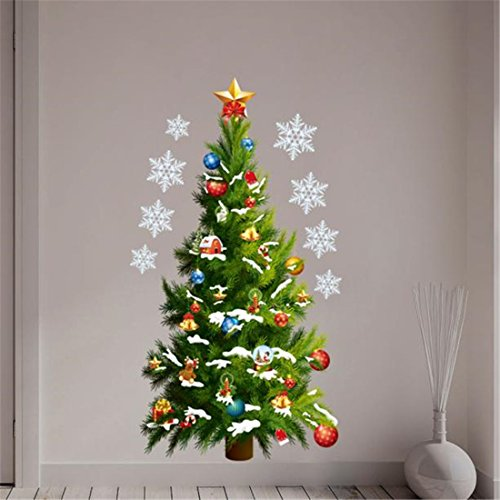 Wand Aufkleber Weihnachten brezeh Wall Paper Hingucker Weihnachtsbaum Wandtattoo Vinyl Abnehmbare Home Wand-Decor (Home Decor Add On)