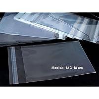 100 bolsas de 12 x 18 cm de celofán con solapa adhesiva, para dulces, detalles, etc..