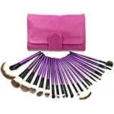 EmaxDesign 24 Pieces Professional Makeup Brush Set Foundation Blending Blush Eyeliner Face Liquid Powder Cream Purple Handle Cosmetics Brushes Kit With Rose Red Case by EmaxDesign