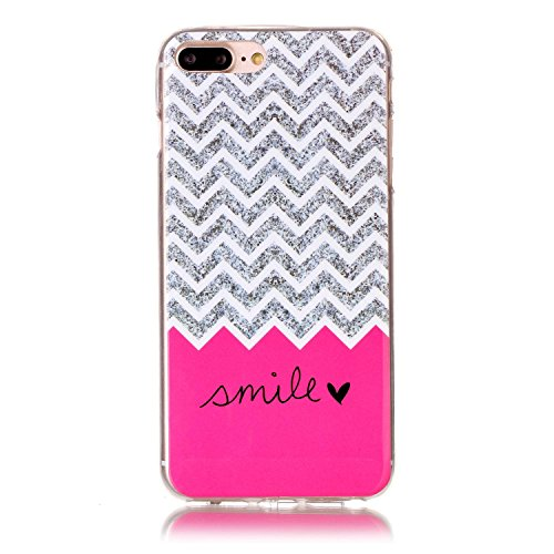 Coque Housse pour iPhone 7 Plus/8 Plus, iPhone 8 Plus Coque Silicone Etui Housse, iPhone 7 Plus Souple Coque Etui en Silicone, iPhone 7 Plus Silicone Transparent Case TPU Cover, Ukayfe Etui de Protect Sourire Vague