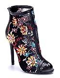 Schuhtempel24 Damen Schuhe Sandaletten Sandalen blau Stiletto Ziersteine/Blumenapplikation 12 cm High Heels