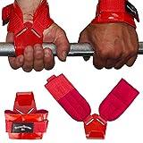 Fitnessexpress24 Zughilfen Klimmzughaken Latzughilfen Griffhilfen ROT mit rot lackiertem Haken