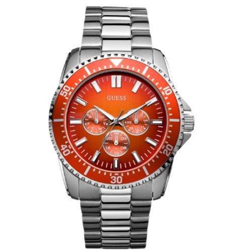 Guess Focus - Reloj con correa de acero inoxidable para hombre, color naranja/plateado